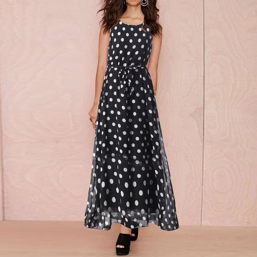 Polka Dots Summer Sleeveless Chiffon Dress