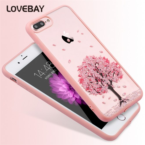 Lovebay Cartoon Cat Case Cherry Tree Flowers Pattern Transparent Acrylic Mobile Phone Case For iPhone