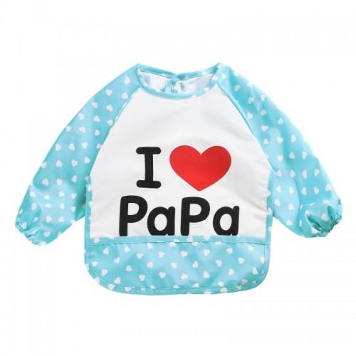 Blue Lovely Baby Kids I Love Papa Printed Infant Long Sleeve Waterproof Feeding Bibs