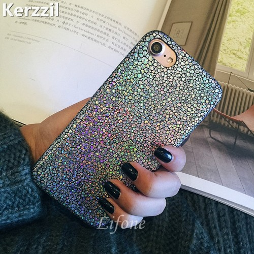 Luxury Bling Shining Fish Scales Laser Colorful PU Leather Soft Case