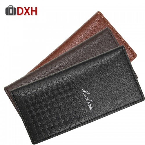 Luxury Men Utra-Thin Long Wallet Woven Pattern Multi-Card Male Clutch