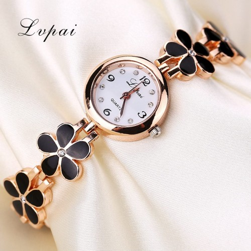 Lvpai Brand Luxury Crystal Gold Watches Women Fashion Bracelet Quartz Wristwatch Rhinestone Ladies Fashion Watch Gift