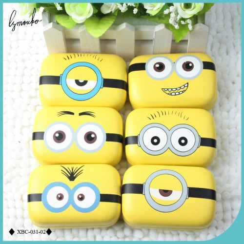 New Design Cute DIY Sweet Expression Minions Series Metal Contact Lenses Box for Gift Contact Lens Case