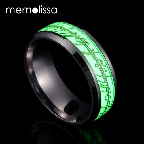New Stainless Steel The Lord Of One Ring Fluorescent Glowing Logo Finger Rings For Men