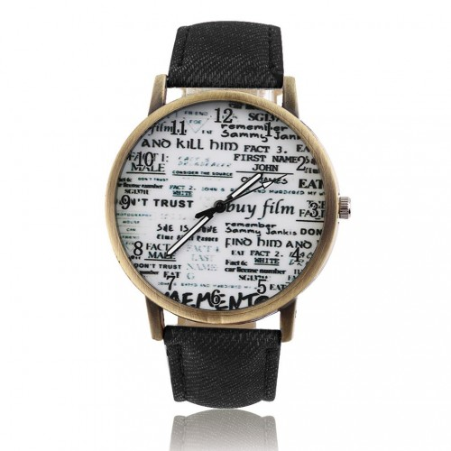 Analog Classic Graffiti Newspaper Dial Wrist Watch