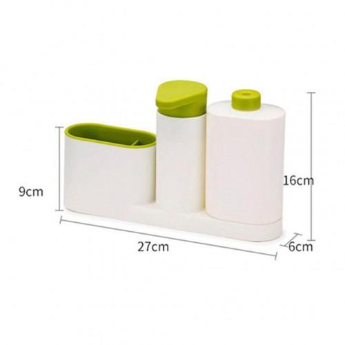Kitchen Washing Sponge Storage Shelf Bathroom Sink Detergent Soap Dispenser