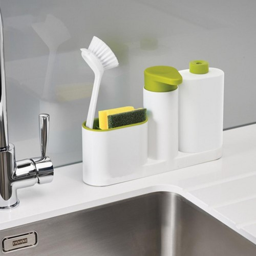 Kitchen Washing Sponge Storage Shelf Bathroom Sink Detergent Soap Dispenser