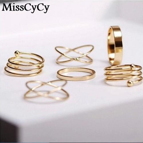 Unique Ring Set Punk Gold Color Knuckle Rings for women Finger Ring 6 PCS Ring Set