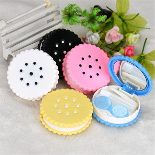 Cutie Biscuit Contact Lens Case Candy color Cookie Cake Lenses Storage Box