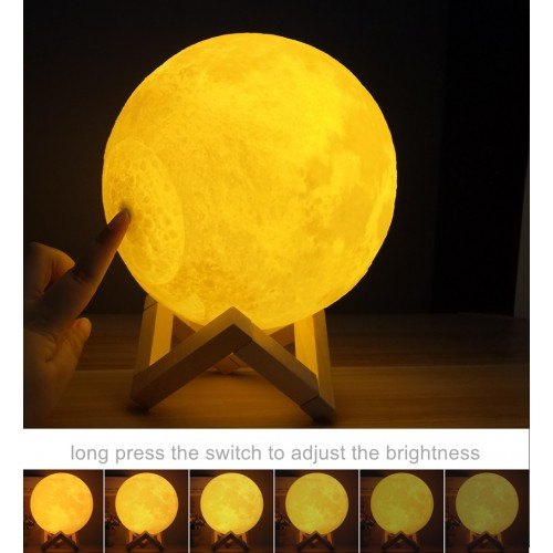 Moon Lamp 3D Print Moonlight LED Rechargeable Table Desk Lamp 12CM With Remote