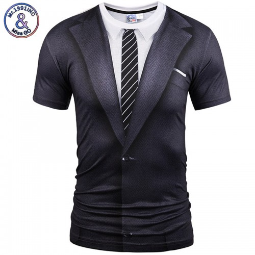 New Style Casual Men 3D Short Sleeve Black Suit Digital Printed T-Shirt