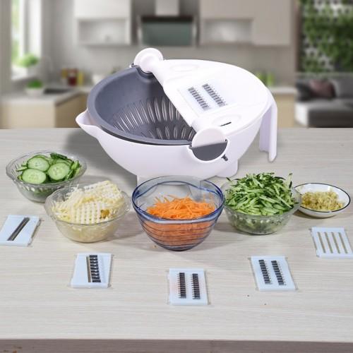 5pcs Multi-Function Vegetable Potato Slicing Shredding Machine Washing Household Grater Draining Basket