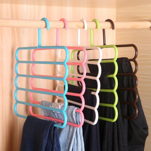 Pack Of 3 Pants Racks Holder Clothing Wardrobe Hangers Closet Organizer Storage Rack