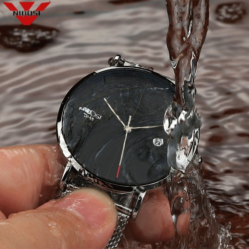 NIBOSI Unisex Style Watch Men and Women Watch Luxury Famous Top Brand Dress Fashion Watch Quartz Wristwatches With Milanese Band