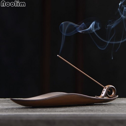 Buddha Stick Incense Holder Vintage Kiln Censer Buddhist Temple Chinese A leaf Boat Incense Burner