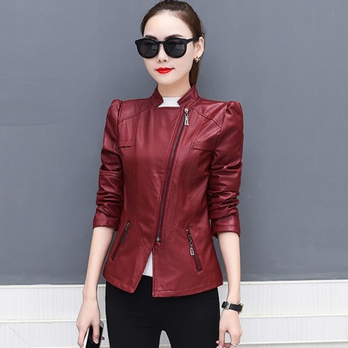 Women Zipper PU Leather Classic Winter Outerwear Short Slim Jackets