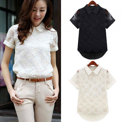 Chiffon Blouse Hollow Short Sleeve Lace Floral Blouse