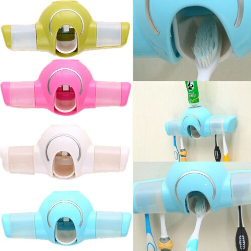 Automatic Toothpaste Dispenser 4 Toothbrush Holder Set Wall Suck Mount Stand