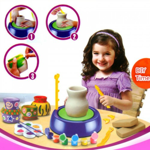 Children Handicraft Art Toys Hand Made Ceramic Pottery Wheel with DIY Clay Kits