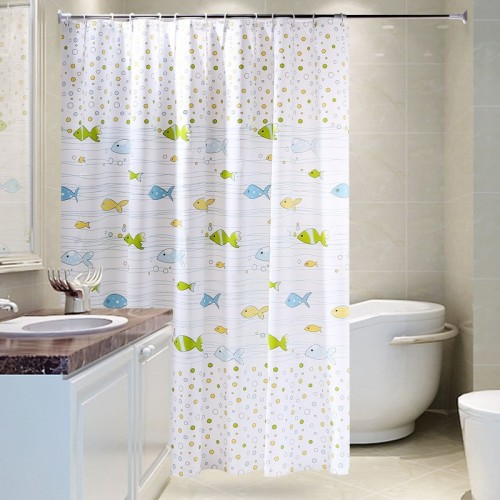 New Arrival Cartoon Fishes Printed Bathroom Curtain Waterproof Moldproof Polyester Shower Curtain