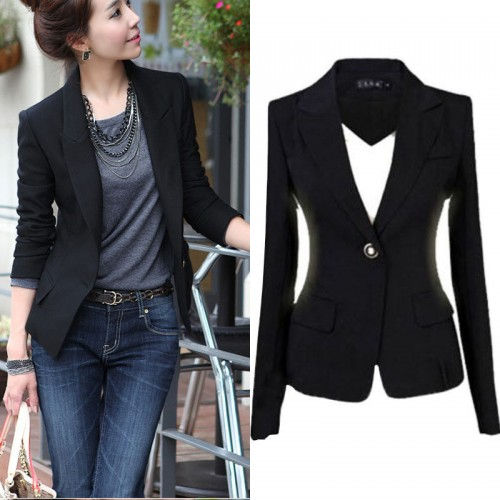 Black Single Button Women's Coat