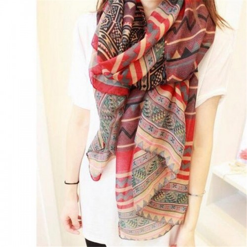 New Red Black Trendy Women Long Bohemian Print Wrap Shawl Scarf Ladies Big Girl Scarf Tole Styles
