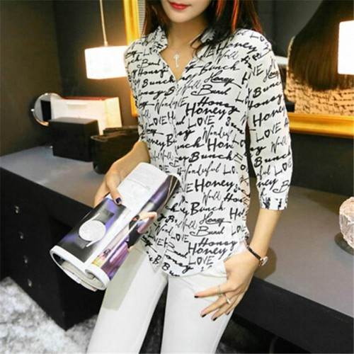Letter Print Blouse Chiffon Short Sleeve Top