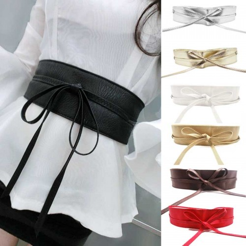 Soft Leather Wide Self Tie Wrap Belt