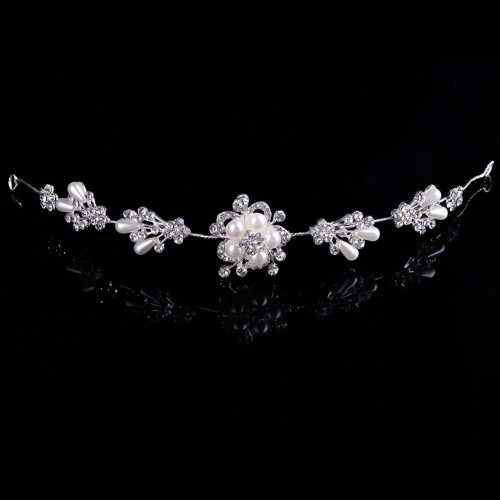 New Bridal Wedding Pearl Rhinestone Flower Hair Band