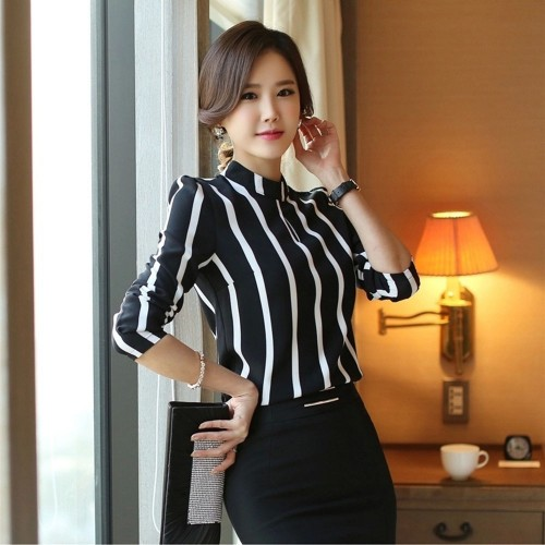Korean Style Cute Hollow Out Striped Bodysuit Blouse Top