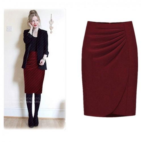 Faldas Woolen Pencil Skirt