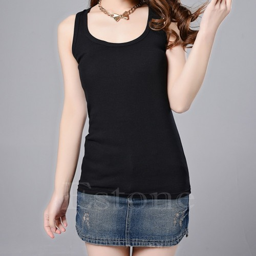 100% Cotton High Quality Womens Casual Sleeveless Solid Tanks Tops