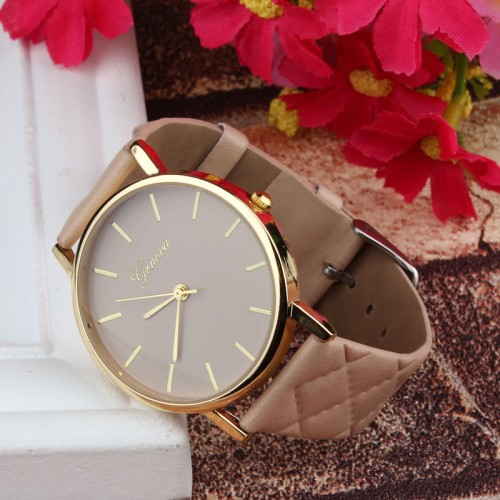 Checkers Casual Faux Leather Analog Dress Quartz Watch