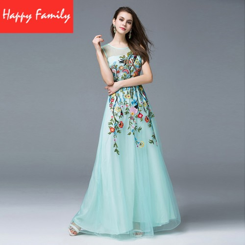 Sky Blue Dress With Embroidery Empire Waistline