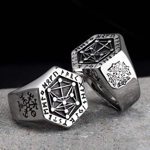 Stainless Steel Rings For Man Nordic Mythology Viking Rune Index Ring Fashion Jewelry