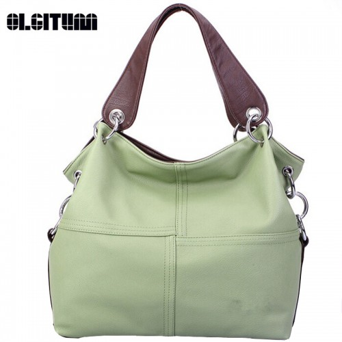Women Versatile Handbag Soft PU Leather Bags Zipper Messenger Bag Splice Grafting Vintage Cross Bags