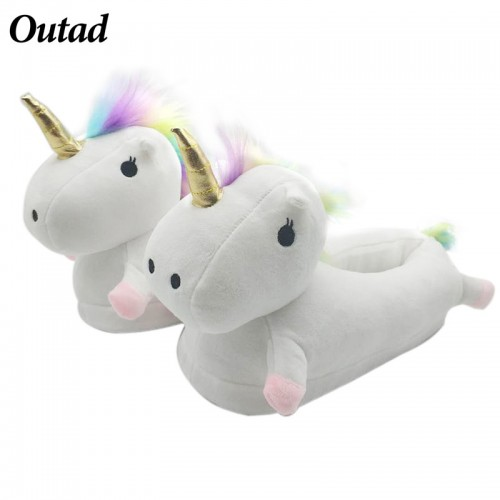 Unicorn Slippers Winter Warm Home Women Fur Mules Shoes