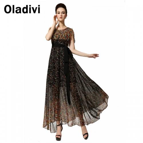 Sleeveless Long Robe Longue Chiffon Dresses