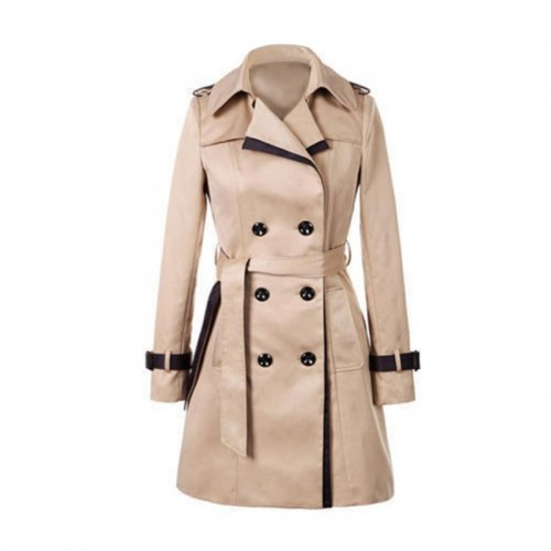 Womens Long Sleeve Slim Trench Coats Turn-down Collar Overwear Spring Autumn Winter Overcoat