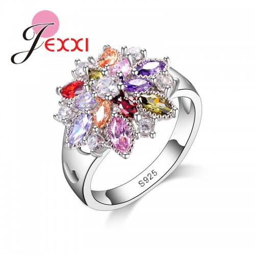 Colorful Crystal Sterling Silver Rings