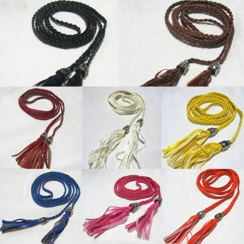 PU Leather Braided Belt Self-Tie Rope Belt