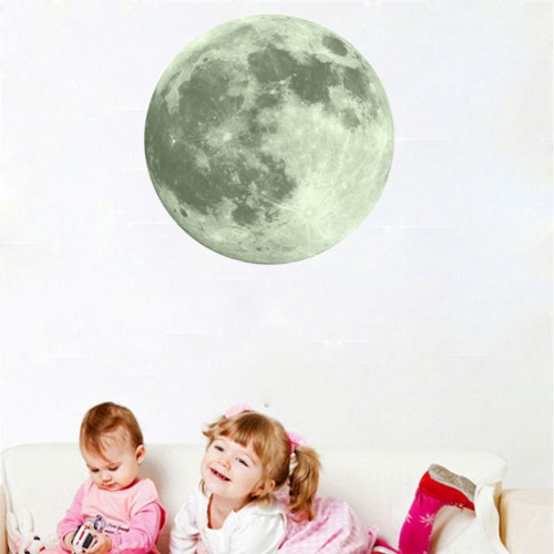 PVC Luminous Wall Sticker Glow Full Moon Poster Waterproof Sticker Wallpaper Home Decoration Night Light Sticker