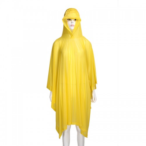 PVC Reusable Adult Rain Coat Bright Yellow with Cap