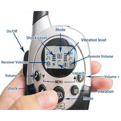 Pet Dog Training Collar Water Resistant Rechargeable LCD Remote Electric Shock Dog Control