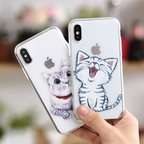 Soft Silicone TPU Ultra Thin Cute Cat 3D Printed Back Cover For iPhone Case