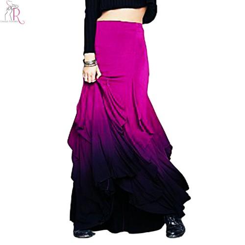Purple Gradient Ruffled Layered Pencil Skirt High Waist Mermaid Trumpet Vintage Streetwear