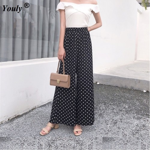 Polka Dot Elastic Waist Elegant Wide Leg Pleated Long Pants