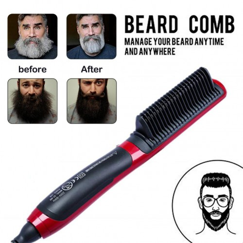 Portable Mens Fast Beard Smooth Comb Beard Straightener Multi-function LCD Monitor Ceramic Comb