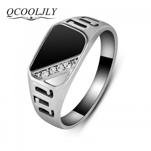 New Fashion Classic Gold Silver Color Rhinestone Men Ring Black Enamel Male Finger Rings