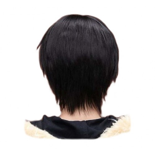Men Boy Short Straight Cosplay Men Party Black 32 Cm Heat Resistant Synthetic Hair Wigs